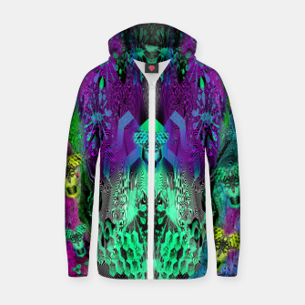 Thumbnail image of Sugar Skull and Girly Corks (abstract, psychedelic, trippy) Cotton zip up hoodie, Live Heroes