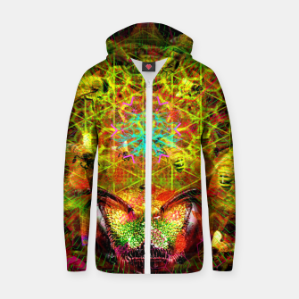 Miniatur Honeycomb Hideout (psychedelic, visionary, abstract, bees) Cotton zip up hoodie, Live Heroes