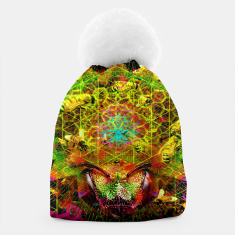 Miniatur Honeycomb Hideout (psychedelic, visionary, abstract, bees) Beanie, Live Heroes
