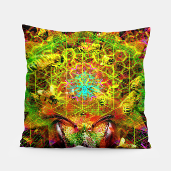 Miniatur Honeycomb Hideout (psychedelic, visionary, abstract, bees) Pillow, Live Heroes