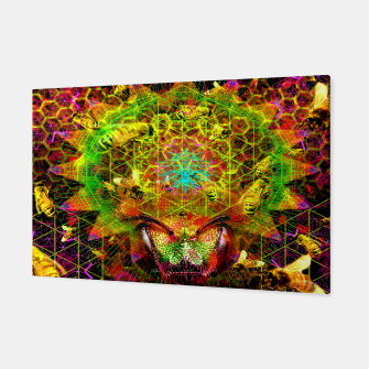 Miniatur Honeycomb Hideout (psychedelic, visionary, abstract, bees) Canvas, Live Heroes