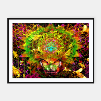 Miniatur Honeycomb Hideout (psychedelic, visionary, abstract, bees) Framed poster, Live Heroes