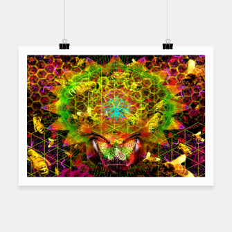 Miniatur Honeycomb Hideout (psychedelic, visionary, abstract, bees) Poster, Live Heroes