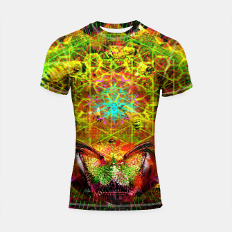 Miniatur Honeycomb Hideout (psychedelic, visionary, abstract, bees) Shortsleeve rashguard, Live Heroes