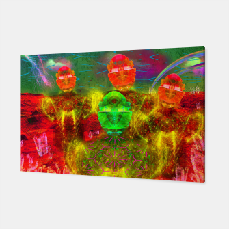 Thumbnail image of Martian Family Greeting (retro sci-fi, scifi, psychedelic) Canvas, Live Heroes
