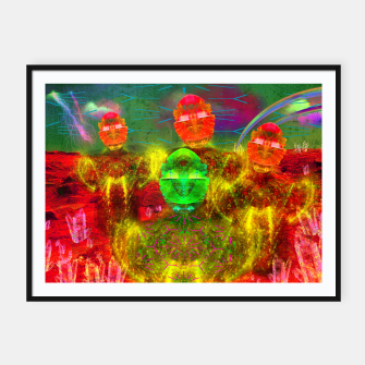 Thumbnail image of Martian Family Greeting (retro sci-fi, scifi, psychedelic) Framed poster, Live Heroes