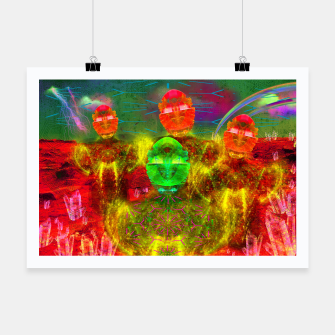 Thumbnail image of Martian Family Greeting (retro sci-fi, scifi, psychedelic) Poster, Live Heroes