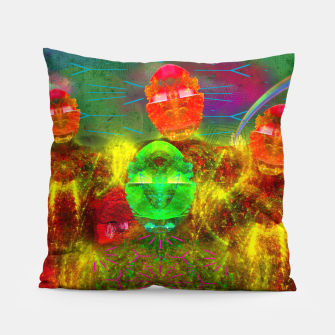 Thumbnail image of Martian Family Greeting (retro sci-fi, scifi, psychedelic) Pillow, Live Heroes