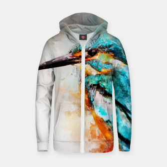 Thumbnail image of Watercolor kingfisher Cotton zip up hoodie, Live Heroes