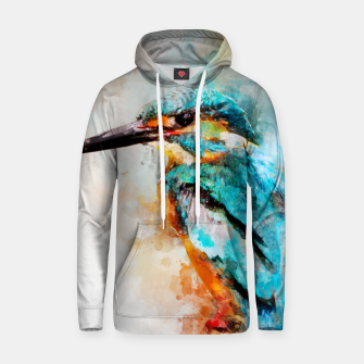 Thumbnail image of Watercolor kingfisher Cotton hoodie, Live Heroes