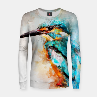 Thumbnail image of Watercolor kingfisher Woman cotton sweater, Live Heroes