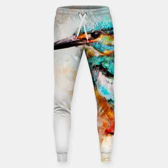 Thumbnail image of Watercolor kingfisher Cotton sweatpants, Live Heroes