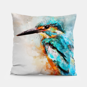 Thumbnail image of Watercolor kingfisher Pillow, Live Heroes