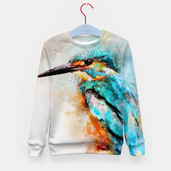 Thumbnail image of Watercolor kingfisher Kid's sweater, Live Heroes