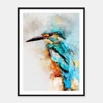 Thumbnail image of Watercolor kingfisher Framed poster, Live Heroes
