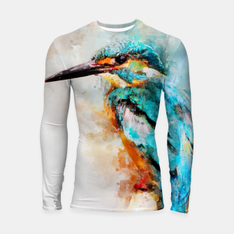 Thumbnail image of Watercolor kingfisher Longsleeve rashguard , Live Heroes