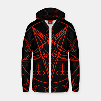 Thumbnail image of Wiccan symbols- Cross of Sulfur, Triple Goddess, Sigil of Baphomet and Lucifer Cotton zip up hoodie, Live Heroes