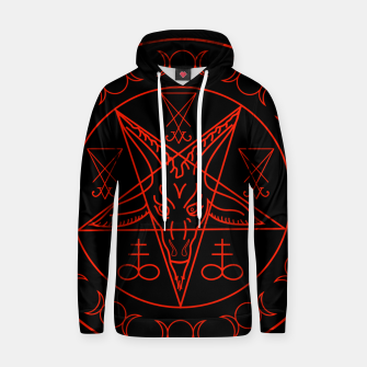 Thumbnail image of Wiccan symbols- Cross of Sulfur, Triple Goddess, Sigil of Baphomet and Lucifer Cotton hoodie, Live Heroes