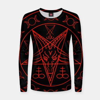 Thumbnail image of Wiccan symbols- Cross of Sulfur, Triple Goddess, Sigil of Baphomet and Lucifer Woman cotton sweater, Live Heroes