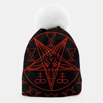Thumbnail image of Wiccan symbols- Cross of Sulfur, Triple Goddess, Sigil of Baphomet and Lucifer Beanie, Live Heroes