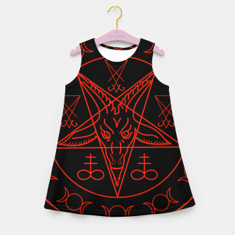 Thumbnail image of Wiccan symbols- Cross of Sulfur, Triple Goddess, Sigil of Baphomet and Lucifer Girl's summer dress, Live Heroes