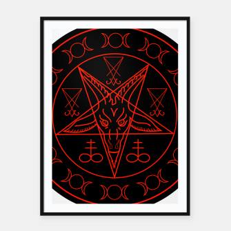 Thumbnail image of Wiccan symbols- Cross of Sulfur, Triple Goddess, Sigil of Baphomet and Lucifer Framed poster, Live Heroes