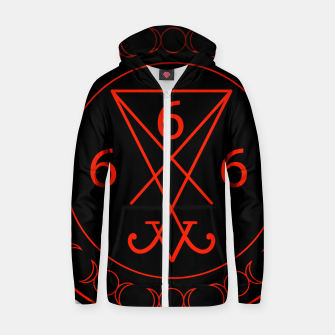 666- the number of the beast with the sigil of Lucifer symbol Cotton zip up hoodie obraz miniatury