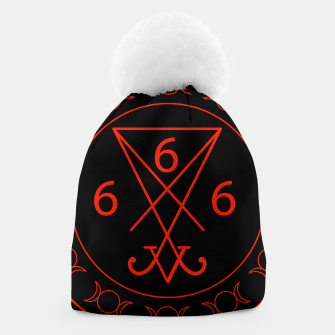 666- the number of the beast with the sigil of Lucifer symbol Beanie obraz miniatury
