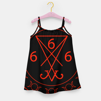 666- the number of the beast with the sigil of Lucifer symbol Girl's dress obraz miniatury