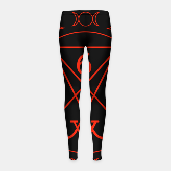 666- the number of the beast with the sigil of Lucifer symbol Girl's leggings obraz miniatury