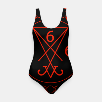 666- the number of the beast with the sigil of Lucifer symbol Swimsuit obraz miniatury