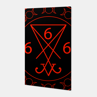 666- the number of the beast with the sigil of Lucifer symbol Canvas obraz miniatury