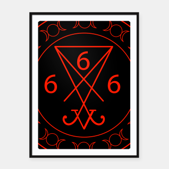 666- the number of the beast with the sigil of Lucifer symbol Framed poster obraz miniatury