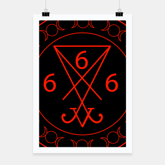 666- the number of the beast with the sigil of Lucifer symbol Poster obraz miniatury