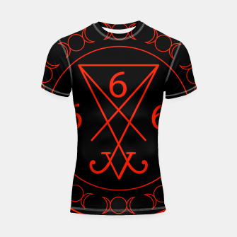 Miniaturka 666- the number of the beast with the sigil of Lucifer symbol Shortsleeve rashguard, Live Heroes
