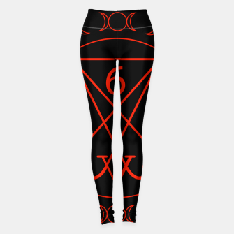 666- the number of the beast with the sigil of Lucifer symbol Leggings obraz miniatury