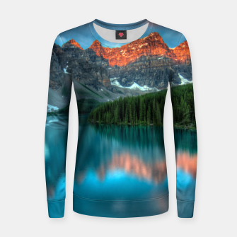 Thumbnail image of Alberta Canada Lake Louise Summer Adventure Woman cotton sweater, Live Heroes