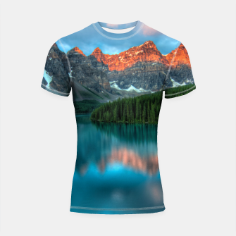 Thumbnail image of Alberta Canada Lake Louise Summer Adventure Shortsleeve rashguard, Live Heroes