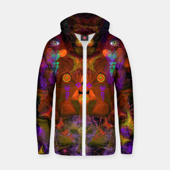 Thumbnail image of Lucid Visions of Homo Erectus (visionary, psychedelic) Cotton zip up hoodie, Live Heroes