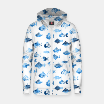 Thumbnail image of watercolor fishes Cotton zip up hoodie, Live Heroes