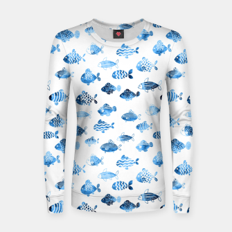 Thumbnail image of watercolor fishes Woman cotton sweater, Live Heroes