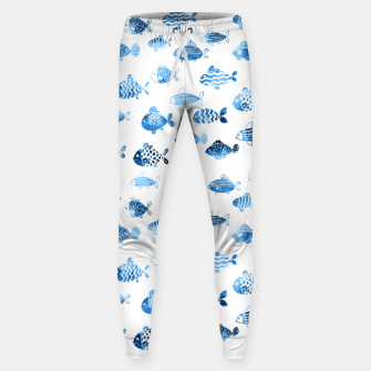 Thumbnail image of watercolor fishes Cotton sweatpants, Live Heroes