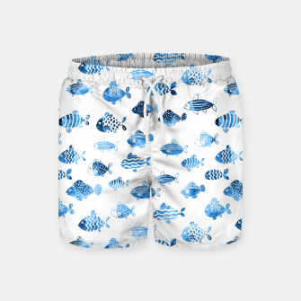 Thumbnail image of watercolor fishes Swim Shorts, Live Heroes