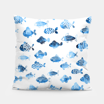 Thumbnail image of watercolor fishes Pillow, Live Heroes