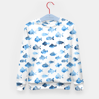 Thumbnail image of watercolor fishes Kid's sweater, Live Heroes