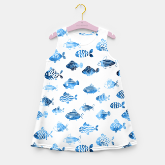 Thumbnail image of watercolor fishes Girl's summer dress, Live Heroes