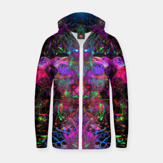 Thumbnail image of 7 Temporal Spirits (psychedelic, totem, psytrance, trippy, fluorescent) Cotton zip up hoodie, Live Heroes