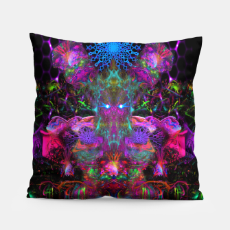 Thumbnail image of 7 Temporal Spirits (psychedelic, totem, psytrance, trippy, fluorescent) Pillow, Live Heroes