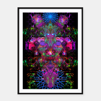 Thumbnail image of 7 Temporal Spirits (psychedelic, totem, psytrance, trippy, fluorescent) Framed poster, Live Heroes