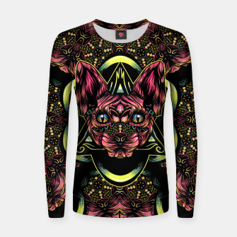 Thumbnail image of Sphynx floral color Woman cotton sweater, Live Heroes